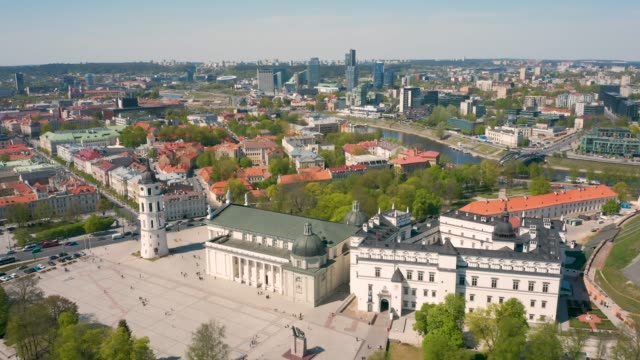 aerial view of vilnius old town - lituania video stock e b–roll
