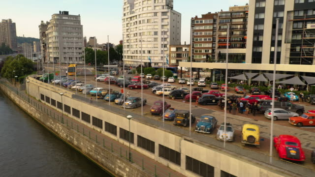 Aerial view of vintage cars rally in Liege