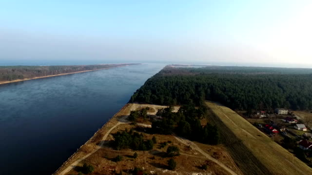 Aerial view of Vistula river estuary Poland video