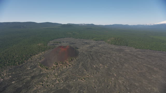 Aerial view of Volcanic cone and lava flow in Central Oregon.