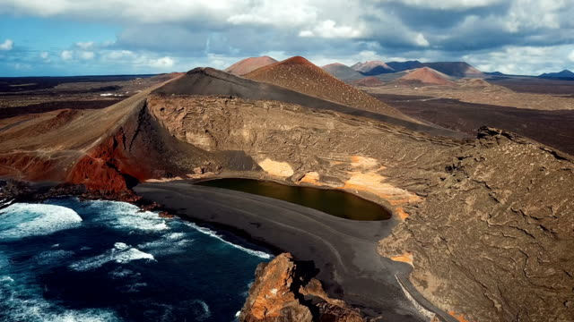 Aerial view of Volcanic Lake El Golfo, Lanzarote, Canary Islands, Spain video
