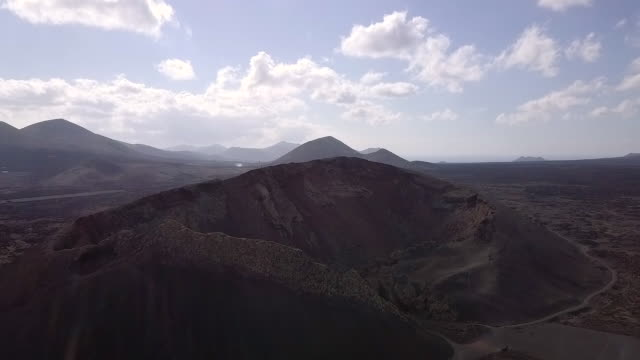 Aerial View of Volcano in Canary Islands, Lanzarote