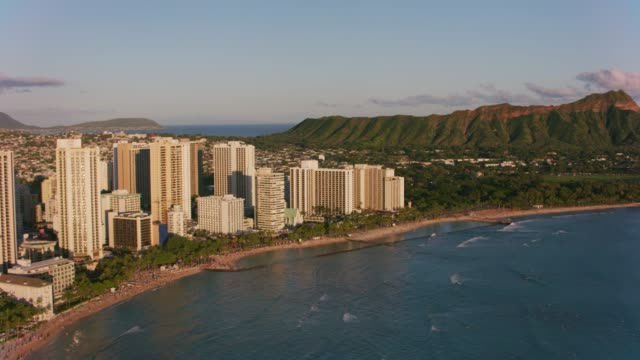 Aerial view of Waikiki and Diamond Head. Honolulu, Oahu, Hawaii circa-2018.  Aerial view of Waikiki and Diamond Head.  Shot with Cineflex and RED Epic-W Helium. waikiki stock videos & royalty-free footage
