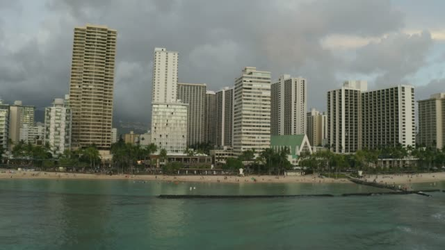 Aerial view of Waikiki Beach in the evening flying along the beach