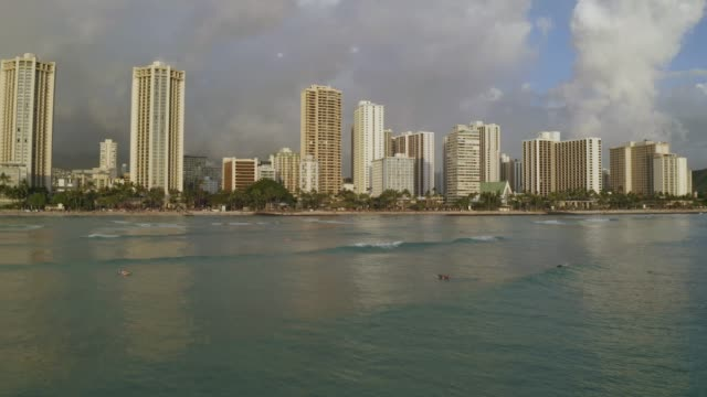 Aerial view of Waikiki Beach in the evening flying towards the beach