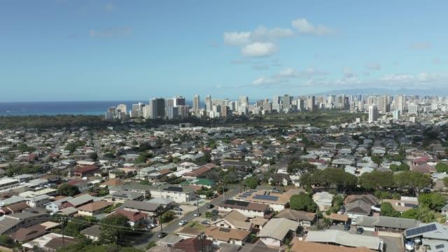 Aerial view of Waikiki moving towards Honolulu on Oahu