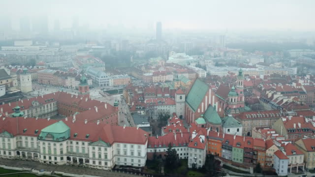 aerial view of warsaw - polonia video stock e b–roll