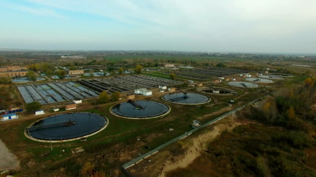 Aerial view of wastewater treatment plant video