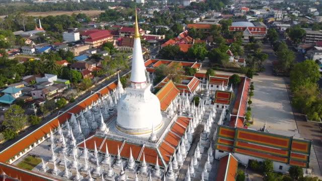 Aerial view of Wat Phra Mahathat Woramahawihan at Nakhon Si Thammarat.