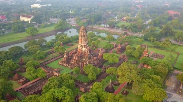 aerial view of wat phra ram is a buddhist temple, part of the ayutthaya world heritage historical park, thailand - tempio video stock e b–roll