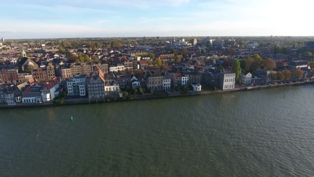 Aerial view of water and nature landscape, Walburg area, Dordrecht , Netherlands Aerial view of water and nature landscape, Walburg area, Dordrecht , Netherlands coastal feature stock videos & royalty-free footage