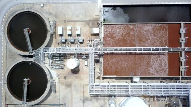 aerial view of water filtration system in the water production plant - acquedotto video stock e b–roll