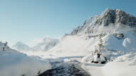 istock Aerial view of waterfront with Snow in winter, Bow Lake 1051425098