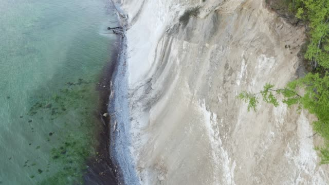 Aerial view of waves crashing on cliff video