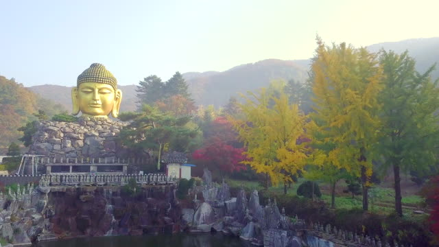 Aerial view of Wawoo Temple Yongin South Korea video