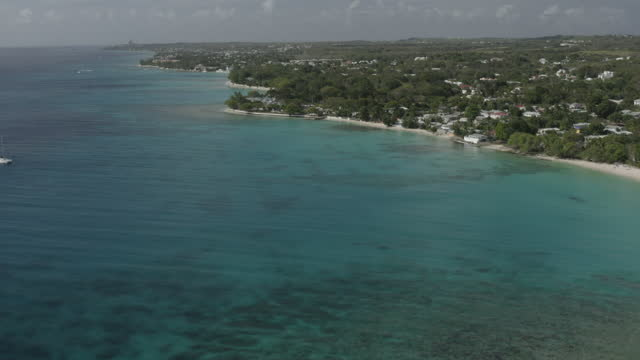 Aerial view of West Coast of Barbados (2) video