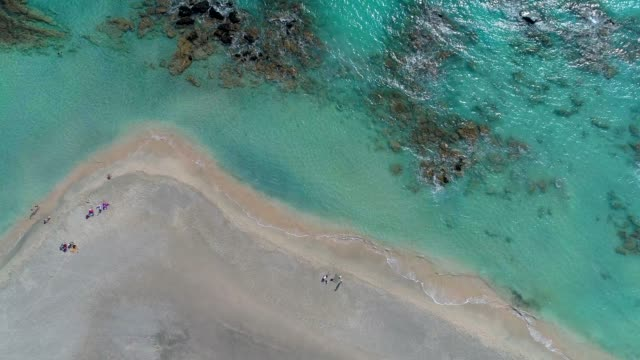 aerial view of wild beach with people. sand beach and blue lagoon. 4k, uhd - in cima video stock e b–roll