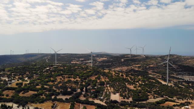 Aerial view of wind energy propellers izmir turkey
