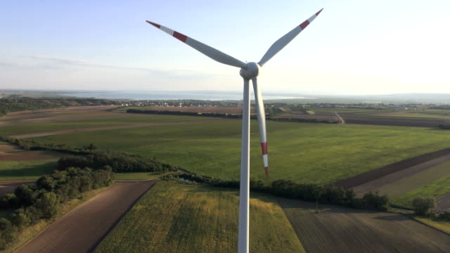 aerial view of wind turbine top to bottom video