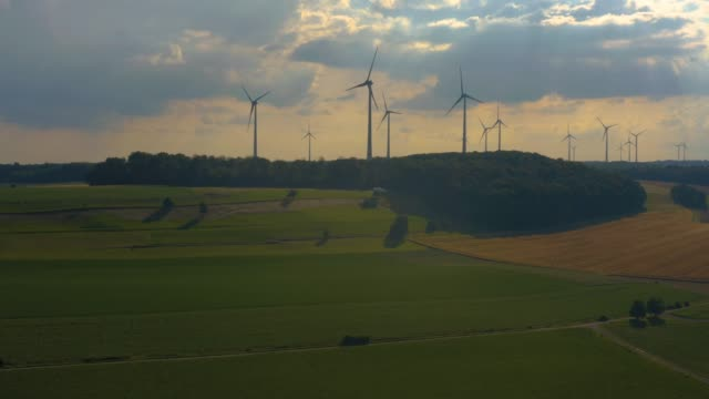 Aerial view of wind turbines close to Berlichingen in Germany.