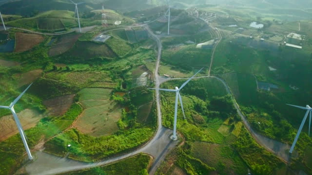 Aerial view of wind turbines,4K DCI