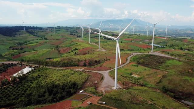 Aerial view of Windmill Alternative energy , Wind turbine