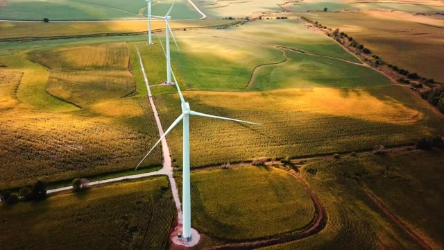 aerial view of windmills in iowa video
