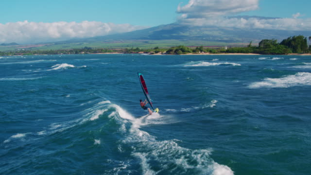 Aerial View of Windsurfing video