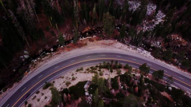 Aerial View of Windy Mountain Road in California Sierra Nevada video
