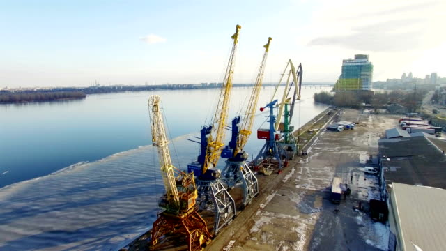 Aerial view of winter river port in Dnepropetrovsk, Ukraine. video