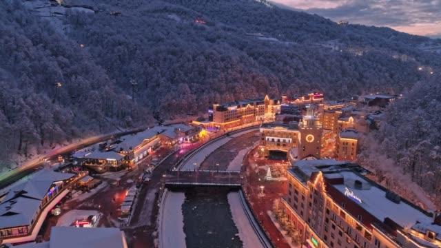 Aerial view of winter Rosa Khutor ski resort. evening illumination