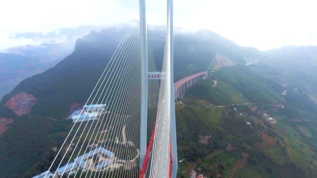 aerial view of world's highest suspension bridge, beipanjiang, ghuizhou, china - bridges stock videos & royalty-free footage