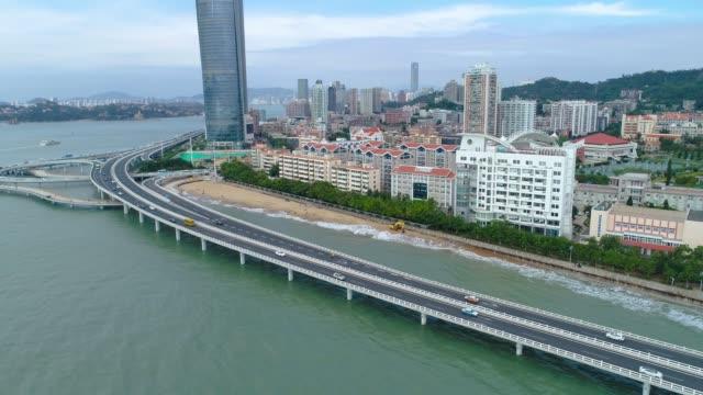 flyg foto över xiamen stadsbilden av fujian china - xiamen bildbanksvideor och videomaterial från bakom kulisserna