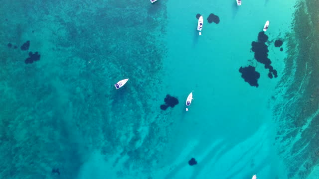 Aerial view of yachts in Slatinica bay at Olib Island in Croatia video