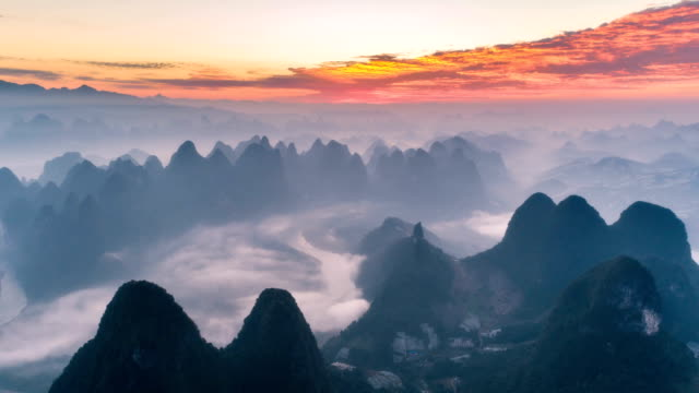 Aerial View Of Yangshuo - Time Lapse