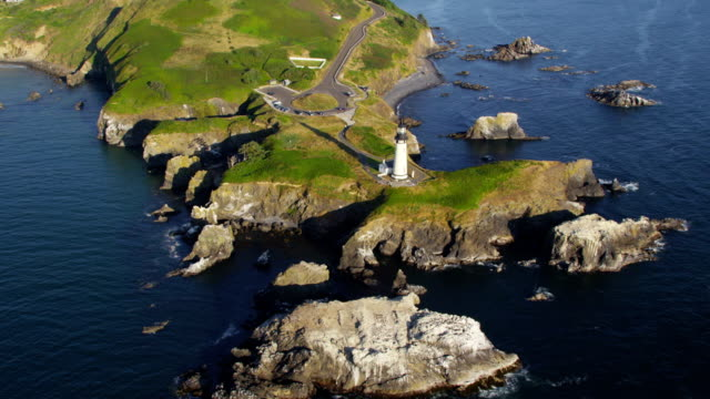 Aerial view of  Yaquina Head Lighthouse, Newport, Oregon video
