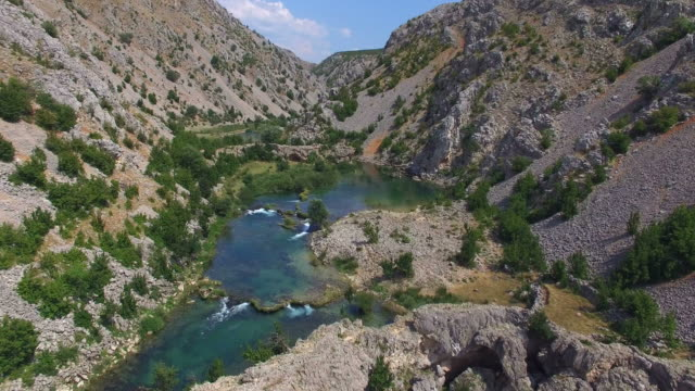 Aerial view of Zrmanja river, Croatia