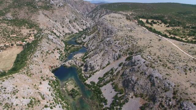Aerial view of Zrmanja river, Croatia video