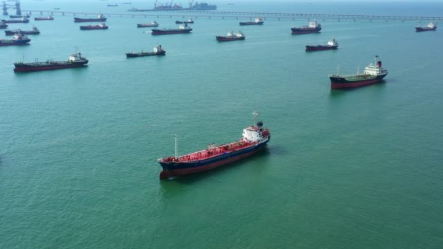 aerial view oil / chemical tanker in open sea, refinery industry cargo ship. - nave cisterna video stock e b–roll