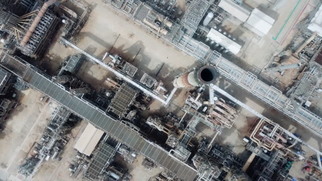 Aerial view oil refinery facilities