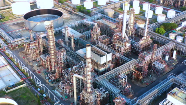 Aerial view oil refinery, refinery plant, refinery factory at evening. – film