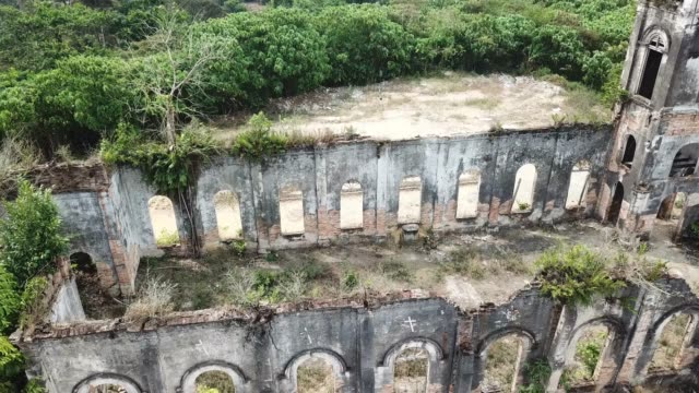 Aerial view old abandoned Church of the Sacred Heart of Jesus, Pagar Tras