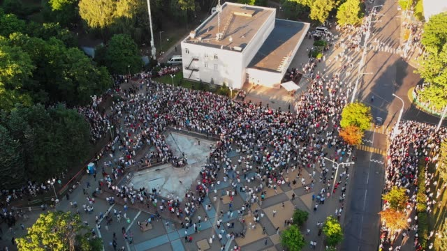 Aerial view on a supporters Aerial view on a supporters of presidential candidate Svetlana Tikhanovskaya at her campaign rally in Minsk. Minsk, Belarus - August 06 2020. belarus stock videos & royalty-free footage