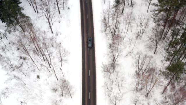 aerial view on car driving through winter forest road. scenic winter landscape. top tracking shot - top filmów i materiałów b-roll