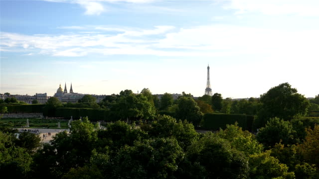 Aerial view on Eiffel Tower in Paris in slow motion video