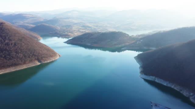 Aerial view on mountain lake