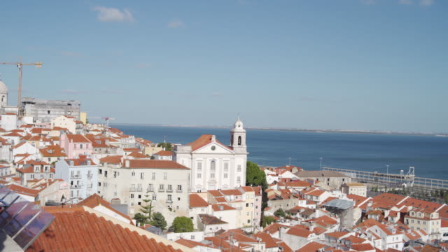 Aerial view on old city in Lisbon at summer days