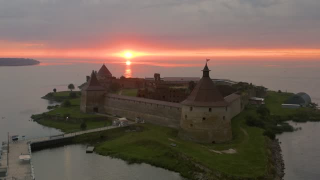 Aerial view on Oreshek fortress