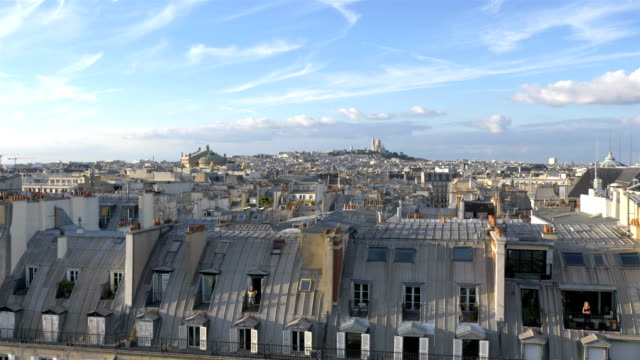 aerial view on sacre coeur in paris in 4k slow motion - paris fashion stock videos and b-roll footage
