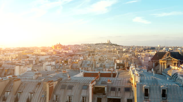 aerial view on sacre coeur in paris in 4k slow motion - parigi video stock e b–roll